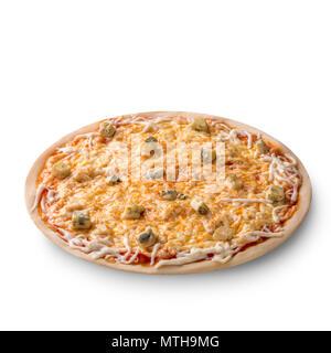 Vue aérienne isolé sur blanc d'un ensemble composé de quatre fromages délicieux pizza italienne sur fond blanc Banque D'Images