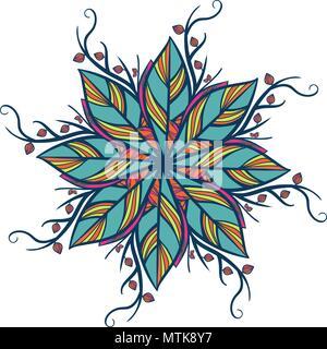 Abstract round ornament, mandala avec des feuilles. Motif botanique circulaire, motif isolé sur fond blanc Banque D'Images