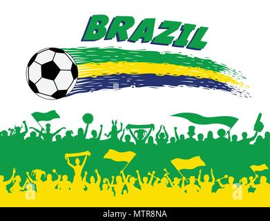 Les couleurs du drapeau du Brésil avec un ballon de football et supporters brésiliens de silhouettes. Tous les objets, les coups de pinceau et les silhouettes sont dans des couches différentes et t Banque D'Images