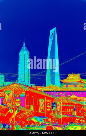 Voir des tours de Pudong avec Yu Garden Bazaar en premier plan, montrant le contraste entre l'ancien et le nouveau (rendu en PS, style pop art), Shanghai, Chine Banque D'Images