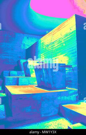 """La Tourette, monastère de l'église inférieure de l'intérieur, les zones de dévotion privée plafond éclairé par la lumière (cannonsÓ """"rendus dans le PS), par Le Corbusier, France Banque D'Images"""