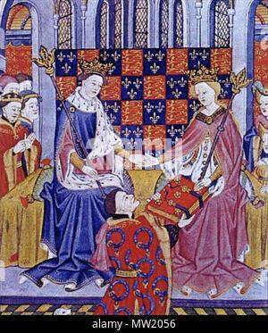 . Anglais: John Talbot, présente le livre de Romances (Shrewsbury) Livre de Marguerite d'Anjou, épouse du roi Henry VI . circa 1445. Maître Talbot (fl. à Rouen, ch. 1430-60) 500 Présentation du livre de romances Banque D'Images