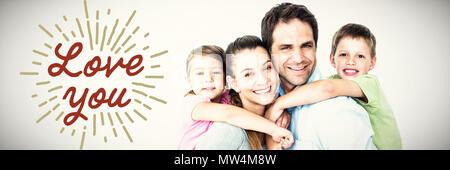 Image composite de portrait of smiling parents piggy-back donnant aux enfants Banque D'Images