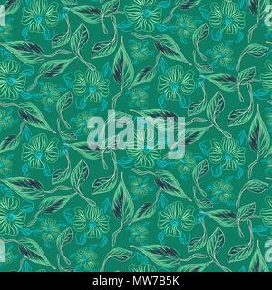 Fleurs et feuilles éclectique esquisse verte modèle vectoriel continu. Banque D'Images
