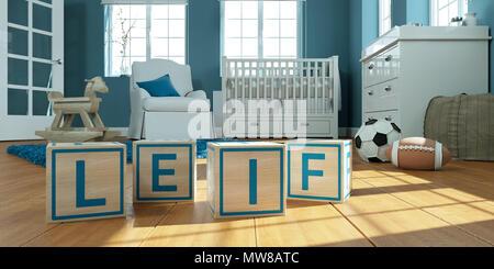 3D Illustration du nom Leif écrit avec des cubes en bois dans la chambre des enfants Banque D'Images