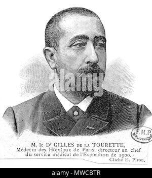 . Anglais: Portrait de Georges Gilles de la Tourette (1857-1904). 1900. Inconnu, la plaque a été photographié par un E. Pirou qui pourrait être Eugène Pirou (1841-1909). 240 Georges Gilles de la Tourette cleanup Banque D'Images