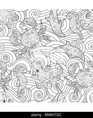 Coloriage Crabe Dauphin.Serene Hand Drawn Seamless Pattern Avec Apercu Mer Vagues Animaux