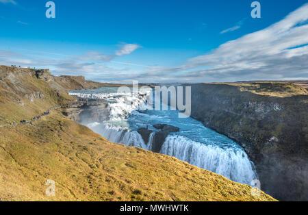 Cascade de Gullfoss au cercle d'or en Islande Banque D'Images