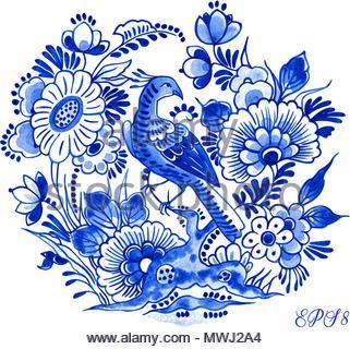 Delft blue style vector illustration à l'aquarelle. Motif floral traditionnel néerlandais, oiseau de paradis sur une branche d'arbre pivoine fleur, cobalt sur fond blanc. Banque D'Images