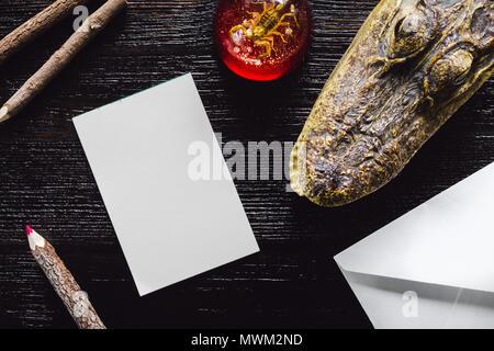Alligator et des presse-papiers Scorpion Noir sur Blanc avec table notes et crayons de couleur