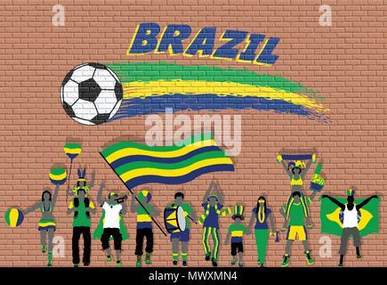 Acclamations des fans de football avec le Brésil couleurs du drapeau en face de ballon de soccer des graffitis. Tous les objets sont dans des couches différentes et les types de texte Banque D'Images