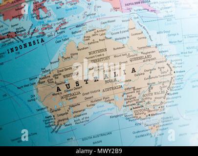 L'Australasie carte sur un monde axé sur l'Australie Banque D'Images