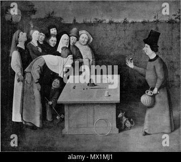 . Nederlands: l'Illusionniste . circa 1505. Jérôme Bosch (vers 1450-1516) Noms alternatifs Jheronimus Bosch Jheronimus van Aken, Jheronimus van Aeken Jheronimus van Aken, Anthonissoen Description peintre flamand et tiroir Date de naissance/décès vers 1450 9 août 1516 (enterré) Lieu de naissance/décès-le-Duc ('s-Hertogenbosch) période de travail, lieu de travail 1474-1516 's-Hertogenbosch contrôle d'autorité: Q130531: VIAF 76401424 ISNI: 0000 0001 2102 478X ULAN: 500000759 RCAC: n79004071 NLA: 35020462 594 WorldCat le prestidigitateur de Jérôme Bosch (Vermeylen, 1939) Banque D'Images