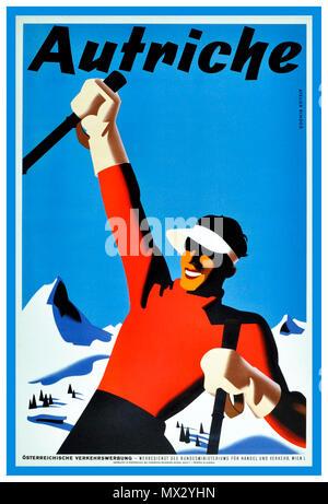 Années 1930 Vintage hiver ski Billet affiche originale Autriche 'Autriche' par skieur Atelier d'assemblage. Banque D'Images