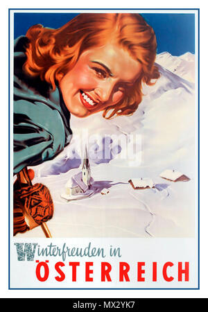 """Autriche 1950 Vintage Travel Poster """"Plaisirs d'hiver en Autriche ÖSTERREICH Winterfreuden Artiste Aigner Banque D'Images"""