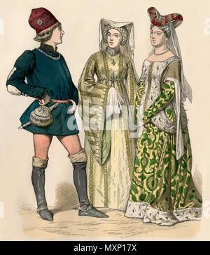 Robe de cour en Angleterre vers 1400. Impression couleur à la main Banque D'Images