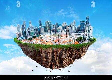 Fantasy île flottante de Singapour cityscape léviter dans l'air sur un ciel nuageux. Banque D'Images