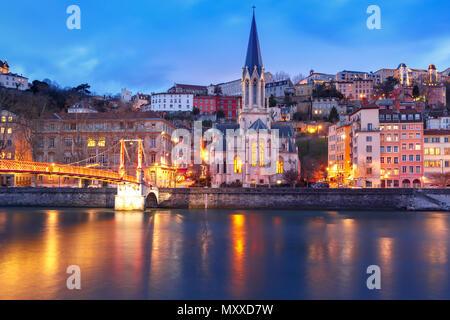Nuit de la vieille ville de Lyon, France Banque D'Images