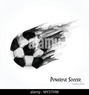 Peinture Aquarelle réaliste de football ou soccer shot puissant . Concept artistique et le sport . Vecteur de championnat du monde international tournamen Banque D'Images