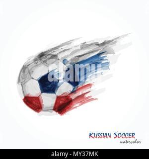 Peinture Aquarelle réaliste de football russe puissant ou au soccer shot . Concept artistique et le sport . Vecteur de championnat du monde international t Banque D'Images