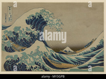 . Kanagawa oki nami ura, (la grande vague au large de Kanagawa) . Réimpression par Adachi de la période Shôwa (entre 1926 et 1989) English : Kanagawa oki nami ura ('Sous la vague au large de Kanagawa'). Estampe en couleurs. . Original : entre 1826 et 1833 la reproduction : entre 1926 et 1989 219 grande vague de Kanagawa Banque D'Images