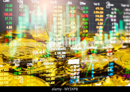 Façon moderne de l'échange. Bitcoin est commode de paiement dans les marchés de l'économie mondiale. La monnaie numérique virtuel et de l'investissement financier concept commercial. Abstr