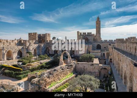 La tour de David dans la vieille ville de Jérusalem, Israël.