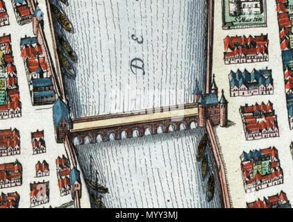. Anglais: Maastricht, Pays-Bas. Détail d'une carte de Maastricht à partir de l'Atlas van Blaeu (1652) montrant le pont sur la Meuse (Meuse). L'accès au pont était gardé par deux portes de la ville: Schuttenpoort Körverspoort et (dans Wyck). Sur la rive gauche: Jodenpoort Visserspoort (haut) et (bas). . 1649. Joan Blaeu (1596-1673) Alternative Names Johannes Blaeu; John Wiliamson; Johannes Blaeu Willemszoon Blaeu cartographe hollandais Description et éditeur Date de naissance/décès 23 Septembre 1596 21 décembre 1673 Lieu de naissance/décès Alkmaar Amsterdam lieu d'Amsterda Banque D'Images