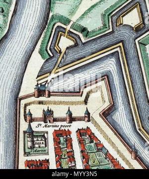 . Anglais: Maastricht, Pays-Bas. Détail d'une carte de Maastricht à partir de l'Atlas van Blaeu (1652) montrant la partie nord-est de Wyck autour de l'église paroissiale et portes de la ville de Saint Martin. . 1649. Joan Blaeu (1596-1673) Alternative Names Johannes Blaeu; John Wiliamson; Johannes Blaeu Willemszoon Blaeu cartographe hollandais Description et éditeur Date de naissance/décès 23 Septembre 1596 21 décembre 1673 Lieu de naissance/décès Alkmaar Amsterdam Amsterdam lieu de travail; contrôle d'autorité Vienne: Q379677: VIAF?41887929 ISNI:?0000 0001 2100 8755 ULAN:?500071653 RCAC:?n8006908 Banque D'Images
