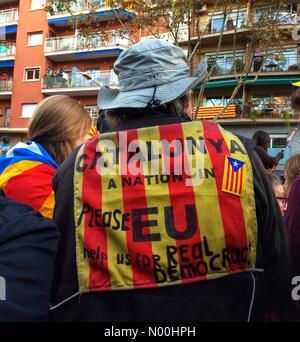 21, Barcelone, Espagne. 11Th nov 2017. protester contre l'emprisonnement des membres du gouvernement catalan, le 11 novembre: crédit/stockimonews queralt sunyer/Alamy live news