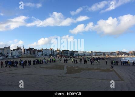 Weymouth, Dorset, UK. 11Th Nov 2018. Danny Boyle's Pages de la mer à Weymouth vous dire merci et au revoir sur ce centenaire de l'Armistice. Credit: Carolyn Jenkins/StockimoNews/Alamy Live News Banque D'Images