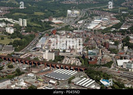 Vue aérienne du centre-ville de Stockport près de Manchester, Royaume-Uni Banque D'Images