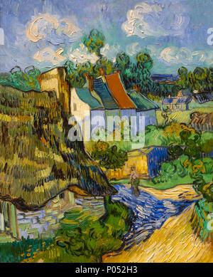 Maisons à Auvers, Vincent van Gogh, 1890, Museum of Fine Arts, Boston, Mass., USA, Amérique du Nord Banque D'Images