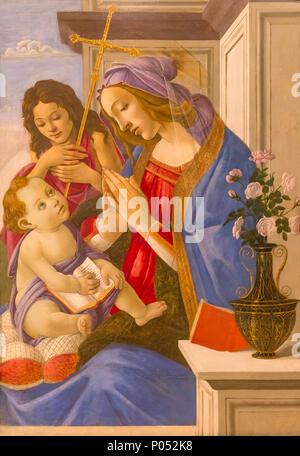 Vierge à l'enfant avec Saint Jean Baptiste, Sandro Botticelli, vers 1500, Musée des beaux-arts de Boston, Mass., USA, Amérique du Nord Banque D'Images