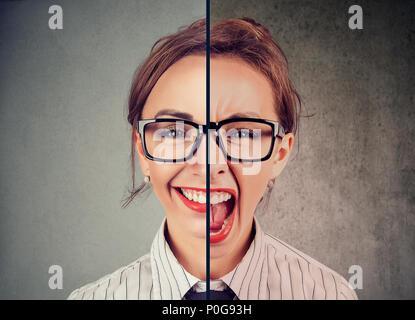 Concept de trouble bipolaire. Jeune femme avec expression double face isolé sur fond gris Banque D'Images