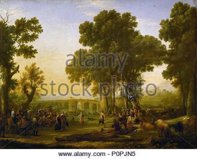 Fete villageoise (fête du village). Huile sur toile (1639) Inv. 4714. Auteur: Claude Lorrain (1600-1682). Emplacement: Louvre, département des Peintures, Paris, France. Banque D'Images