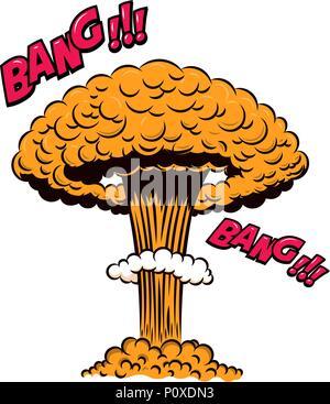 Le Style Comique Explosion Nucleaire Sur Fond Blanc Lelement De Conception Pour Poster