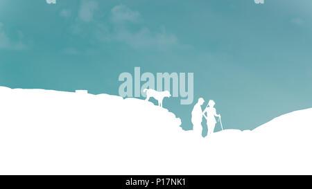 Le meilleur homme, femme et chien silhouette Rock Climber se tenir sur la montagne, sur fond de ciel bleu. Banque D'Images