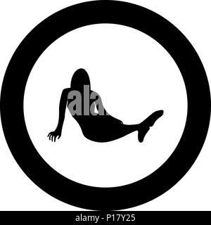 L'icône en couleur noir sirène circle round vector JE Banque D'Images