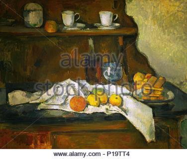 Le buffet - Le bahut, 1877/79,toile 56 x 81 cm. Auteur: Paul Cézanne (1839-1906). Lieu: Musée des Beaux-Arts (Szepmueveszeti Muzeum), Budapest, Hongrie. Banque D'Images