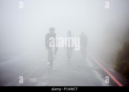 Les cyclistes masculins dédié à vélo sur route brumeux, pluvieux Banque D'Images