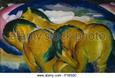 Die kleinen gelben Pferde - Les petits chevaux jaunes. Toile (1912) Inv. 2519. Auteur: Franz Marc (1880-1916). Emplacement: Staatsgalerie, Stuttgart, Allemagne. Banque D'Images