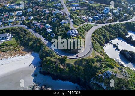 Big Rock Corner, Brighton, Dunedin, île du Sud, Nouvelle-Zélande - Antenne de drone Banque D'Images