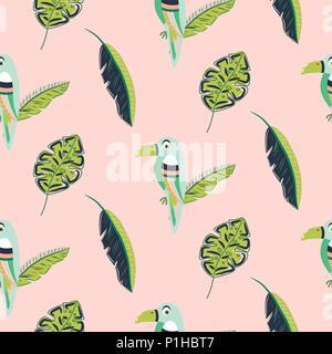 Oiseau Toucan et motif feuilles vecteur transparente. Banque D'Images