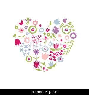 Coeur de fleurs pour la Fête des Mères Banque D'Images