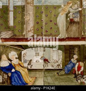 Un ensemble de seize tuiles par paires pour former huit illustrations des 'Briar Rose' tale, 1862 - 1865. Banque D'Images