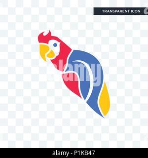 Icône vecteur perroquet isolé sur fond transparent, concept logo perroquet Banque D'Images