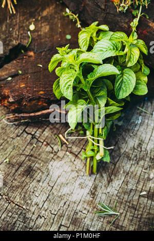Des herbes fraîches. Ingrédients Culinaires dans cadre rustique Banque D'Images