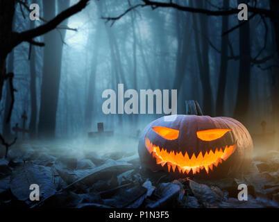 Halloween background, Close up de Jack o Lantern citrouille à la Spooky forêt la nuit with copy space Banque D'Images