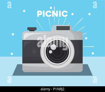 L'icône de caméra photographique sur fond bleu, design coloré. vector illustration Banque D'Images